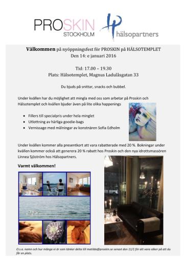 Välkommen på nyöppningsfest 14/1 för Proskin på Hälsotemplet